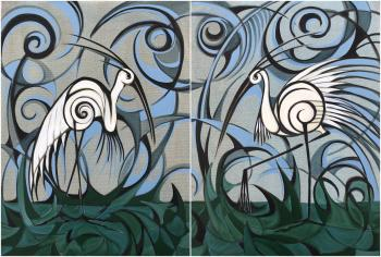 Egrets on the Mossy Ground Diptych
